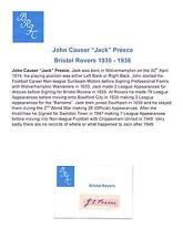 JACK Preece Bristol ROVER 1935-1938 rara mano originale firmato TAGLIO / CARD