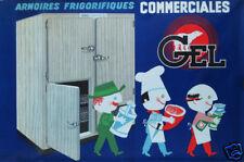 ARMOIRES FRIGORIFIQUES GEL  AFFICHE ORIGINALE ANNÉES 60