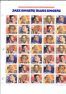 #2854-61 BLUES-JAZZ ARTISTS full sheet of 35 MNH OG