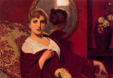 Oil painting Anselmo Miguel Nieto - Young woman Teresita seated before a mirror