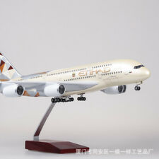 1/130 Etihad Airplane A380 43cm LED Lamp Resin Aircraft Passenger Plane Model