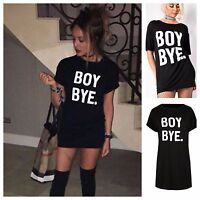 WOMENS LADIES BOY BYE TURN UP SLEEVE T SHIRT MINI DRESS TUNIC TOP PLUS SIZE 8-26