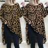 UK Womens Leopard Print Blouse Long Tunic Tops Loose Baggy Autumn Casual T-Shirt