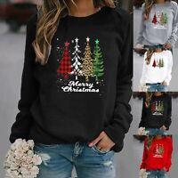 Winter Women Christmas Tree Long Sleeve Pullover Xmas Sweatshirt Jumper Tops UK