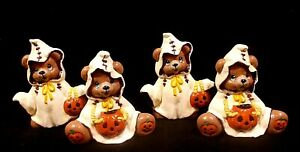 Trick Or Treat Bears Hand Painted Ceramic Holiday Home Decor Set Of 2