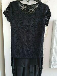 black chiffon back front lace top size 10 by caralie brand new tagged
