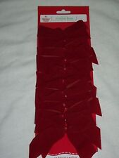 10 Holiday Time Christmas Red Velvet Bows Indoor Outdoor Wreath Fence Mailbox