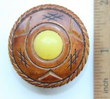 Antique Vintage Ethnic Wood Brooch Pin Fibula With Yellow Amber (JAN)