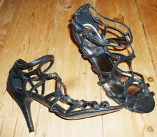 WOMENS BLACK  OPEN TOE HIGH HEEL OCCASION SHOES ASCOT,SALSA ETC SIZE 7.5 (41)
