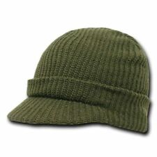 9e259bfea3b Army Green Olive GI Jeep Cap Knit Beanie Winter Hat Radar Military Tactical  Brim