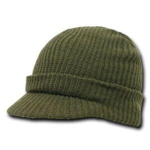Army Green Olive GI Jeep Cap Knit Beanie Winter Hat Radar Military Tactical Brim