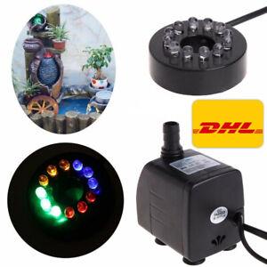 Springbrunnen Pumpe Beleuchtung 12 LED Teichpumpe Tauchpumpe Wasserpumpe 10W DHL