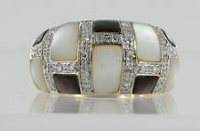 Hallmarked 9ct Yellow Gold Mother of Pear and Diamond Dress Ring REF2203