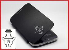 2x Samsung Galaxy S4 SIV i9500 FLIP COVER CUSTODIA NERA WTH Android UFO ROBOT LOGO