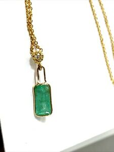 """Natural Emerald & Diamond 14K Yellow Gold Floating Solitaire Necklace 14"""""""