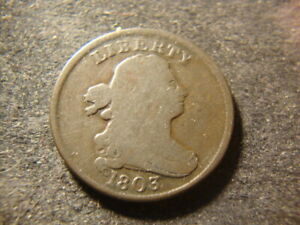 1803 VG F  Draped Bust Half Cent  Early Die State JCX