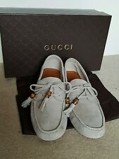 100% authentic Gucci Suede Bamboo Tie Driver Moccasin shoes size 10 G (11 US)