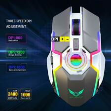 Wireless Gaming Maus Funkmaus 2400DPI Gamer Mouse LED 500mAh Akku Computer Mäuse