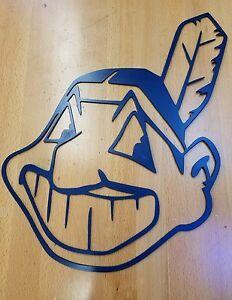 Cleveland Indians Chief Wahoo logo metal wall art plasma cut decor gift idea
