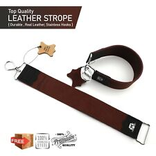 Straight Cut Throat Razor Sharpening Barber Shaving 5cm Real Leather Strop, Belt