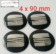 Seat Wheel Stickers SEAT Leon etc... CHROMED 90 mm ALUMINIUM OVERLAYS Aufkleber