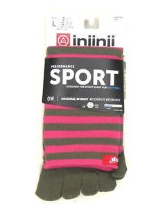Injinji Sport Toe Sock Striped US L (M 11-13.5/W 12+) Over the Calf Orig Wt