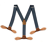 Navy 25mm 6 Button Hole Braces Mens Unisex Heavy Duty Trouser Suspenders Y Shape