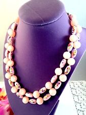 VTG  JAPAN DOUBLE STRAND COTTON CANDY PINK MOONGLOW TUTTI FRUTTI BEAD NECKLACE