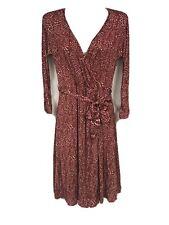 Max Mara Womens 6 Red Dot Faux Wrap Dress 3/4 Sleeve Italy Silk Blend