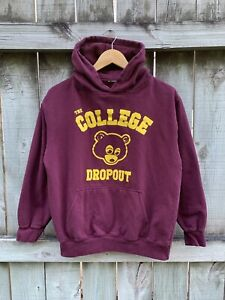 Kanye West The College Dropout Pullover Hoodie Size Small Maroon Rap Tee