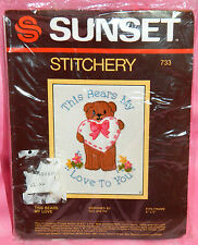 New Sunset Designs This Bears My Love To You Crewel Embroidery Kit Heart Teddy
