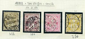 switzerland type chiffre 1882 n° 58.59.60.62 used val : 800$