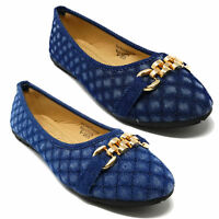 Women Quilted Denim Ballerina Ballet Flats Shoes w/ Front Buckle by Victoria K