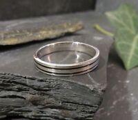 Großer 925 Silber Ring Schmal Rillen Matt Schwarz Modern Unisex Männer Frauen