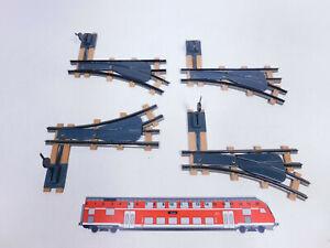 CR22-0,5# 4x Biller Bahn/Billerbahn Spur 0e Handweiche/Weiche mit Holzschwellen