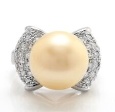 .75 Carat Natural 12.64 mm South Sea Pearl and Diamond 14K Solid White Gold Ring