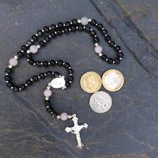 Kilkenny marble Rose Quartz prayer rosary beads.Irish made Catholic Christian