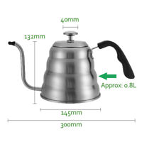 1200ml 304 Stainless Steel V60 Drip Kettle With Thermometer Coffee Tea Pot