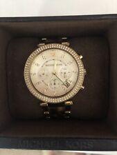 Michael Kors Ladies Chronograph Watch, Gold/tortoiseshell Strap, Original Box
