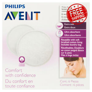 Philips Avent Washable Breast Pads Extra Soft Ultra-Absorbent & Reusable 6 Pack