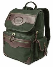 Orvis Battenkill Businessman's Olive Canvas Leather Backpack Travel Bag PlaidNEW