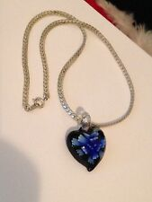 Glass Flower Heart Shaped Pendant On 15 Inch Silver Tone Choker Necklace F4