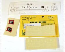 Champ HO Decals Burlington CB&Q Tank Car White HT-254