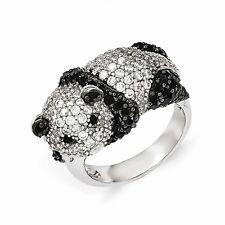 Cheryl M Sterling Silver Cubic Zirconia Panda Bear Ring Size 6 #973