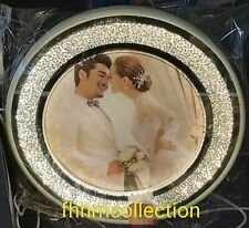 Round Crushed Crystal Diamond Silver LED Photo Frame 8x10 Home Decor Gift NEW