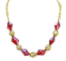 Sparkling Red and Champagne Facet Cut Glass Beaded Necklace - NEW