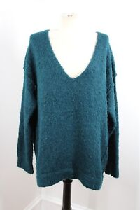 Free People M Teal Green Oversized Drop Shoulder Acrylic Alpaca V-Neck Sweater