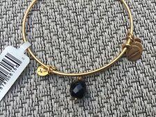 New Rare Alex and Ani Jet Black Oona Drop Charm Beaded Bangle Gold Bracelet 💎