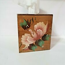 Homemade Wooden Handpainted Floral Cube Tissue Box Cover Country Log Cabin Decor