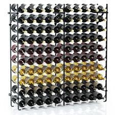 100 Bottle Metal Wine Rack 10 Tier Display Storage Shelf Wobble-Free Stand Black